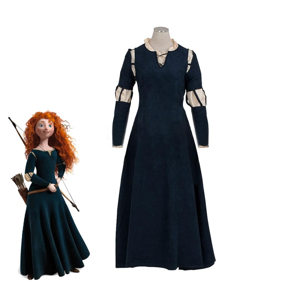 Movie Brave Princess Merida Cosplay Costume Female Fashion Fancy Dark Green Halloween Carnival Gothic Lolita Dresses Custom Made