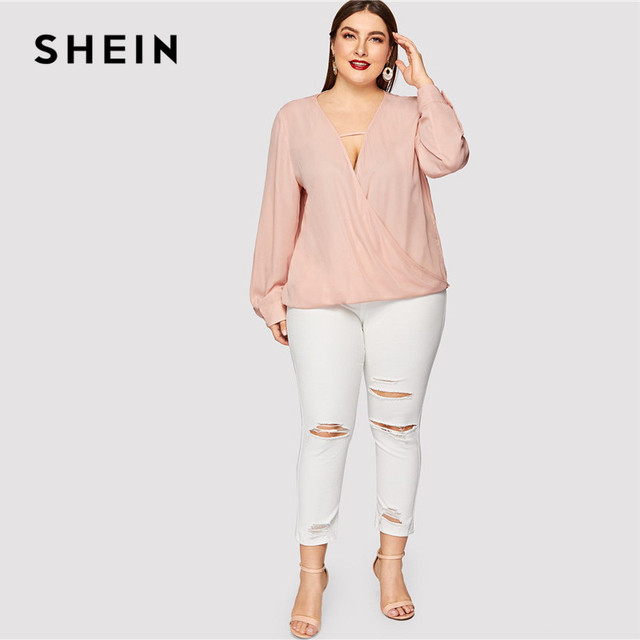 SHEIN Sexy Deep V Neck Surplice Wrap Plus Size Women Sweet Pink Blouses Spring Summer Thin Long Sleeve Solid Top Blouse 3