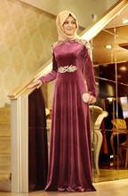 Long Sleeve Muslim Evening Dresses vestido de festa 2016 Gold Appliques Velvet Dubai hijab Arabic Evening Gowns Dresses