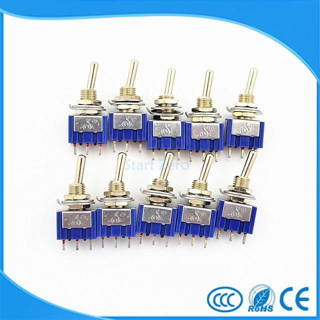 10 Pcs 3 Pinos ON-OFF-ON 3 Posição Mini Engatamento Toggle Switch AC 125 V/6A 250 V/3A