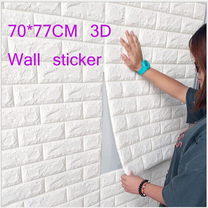 70*77 CM DIY Auto Adhensive 3D Brique Stickers Muraux Salon Décor Mousse Étanche Revêtement Mural Papier Peint Pour enfants Chambre