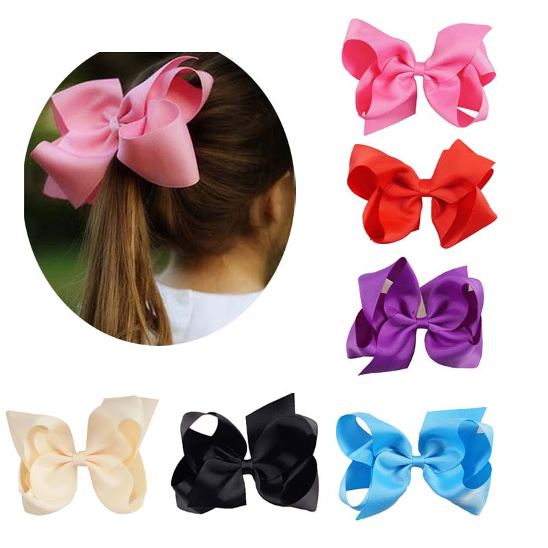 Hot Sale 2pcs Lot 6 Inch Solid Grosgrain Ribbon Hairbow Children
