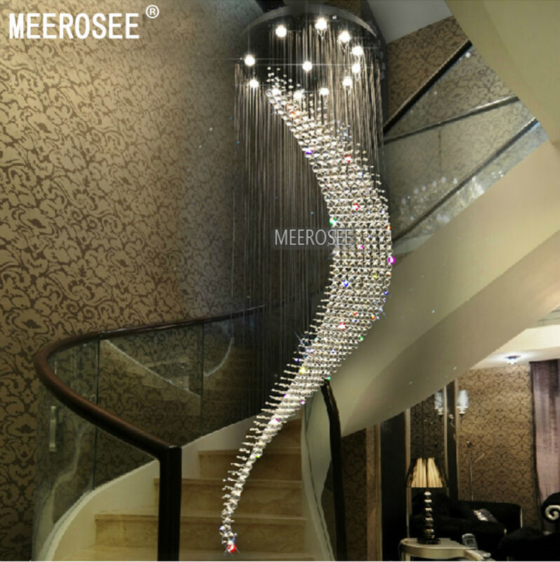 Big Large Spiral Crystal Chandelier Lighting Hotel Villa Crystal Lamp for Staircase, Hallway, Lobby Project Chandelier Lamp