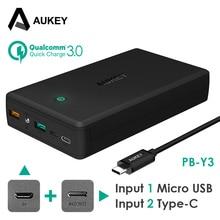 AUKEY 30000 мАч Quick Charge Мобильные аккумуляторы QC 3.0 fast Портативный Зарядное устройство Тип C + Micro Вход внешний Батарея для Xiaomi galaxy S8 LG