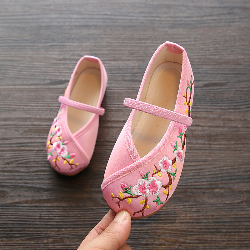 Embroidered Girls Canvas Ballet Shoes//Slippers Toddler//Little Kids
