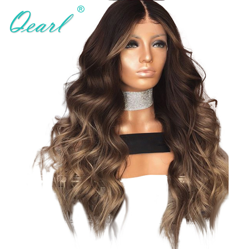 Human Hair Lace Front Wigs Ombre Layered Color Wavy Brazilian Remy Hair Lace Wigs for Black