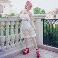 Принцесса сладкий лолита юбки BOBON21 Две кусок костюм твердые выдалбливают колен юбка с кружевом и цветами + леггинсы B1383