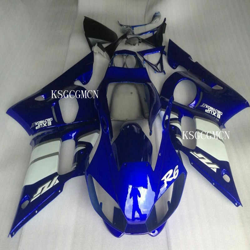 Motorcycle  Blue White  Fairing Bodywork Kit For YAMAHA YZF R6 1998-2002 2001 2000 1999 YZF R6 Hot,sales