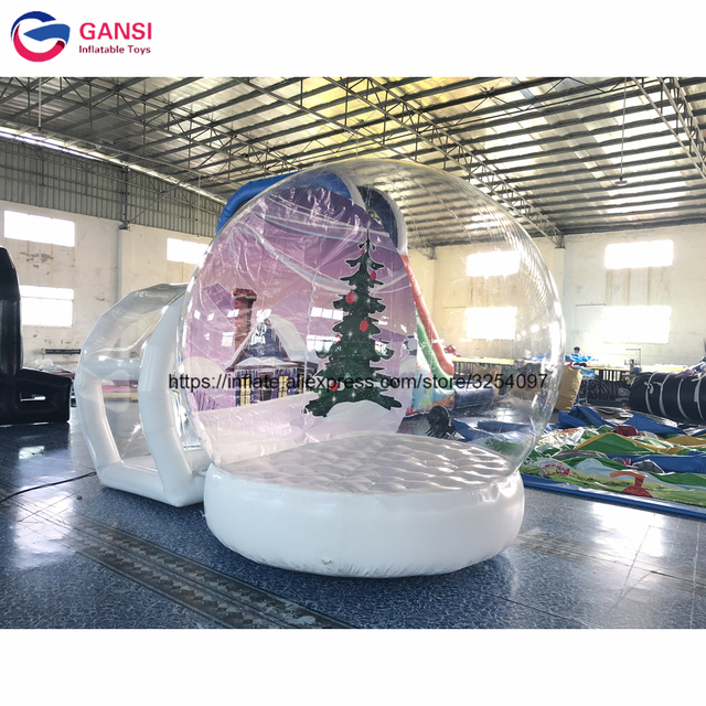 Outdoor Christmas Decorations Inflatable Snow Globe Tent 3m Bounce House With Entrance
