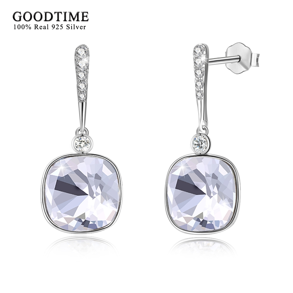 Earrings 925 Sterling Silver Earrings For Women Sparkling Square Crystal Dangle Earrings Fashion 925 Silver Jewelry Drop Earring цена 2017