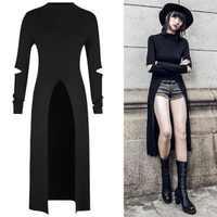 Nouvelle robe Punk femme à manches longues trous et fente Pour V la conception de la fourche femmes robe robes d'été en coton