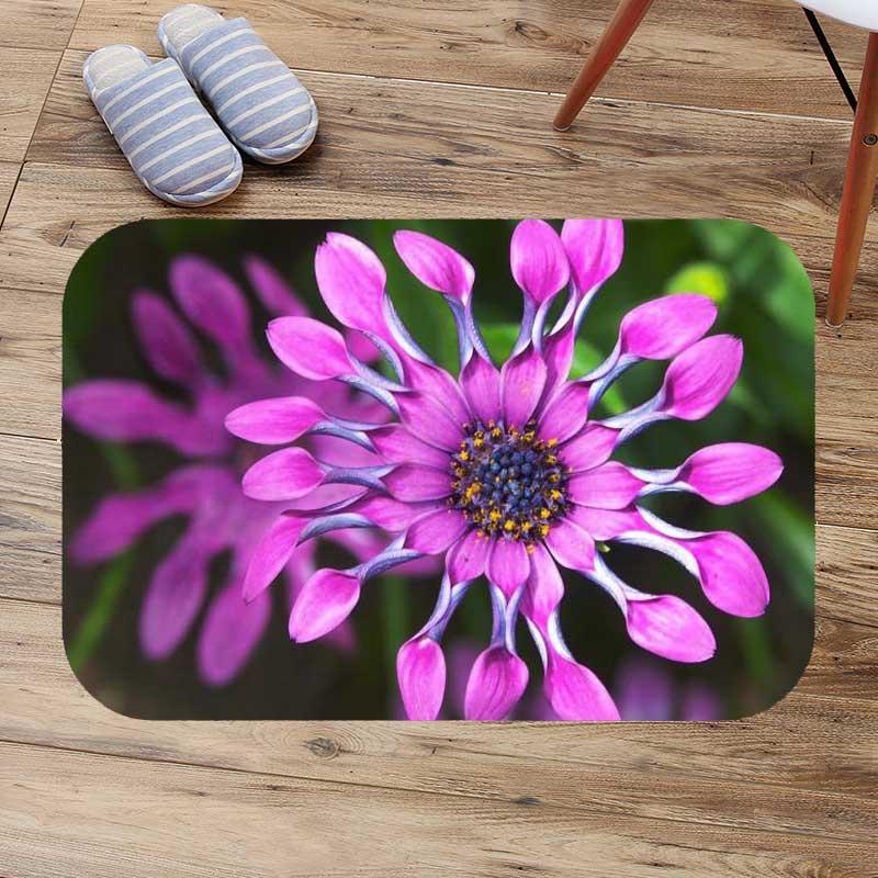 Daisy Flower Purple Shower Room Mat Bathroom Cover Bath Non Slip Floor Rugs