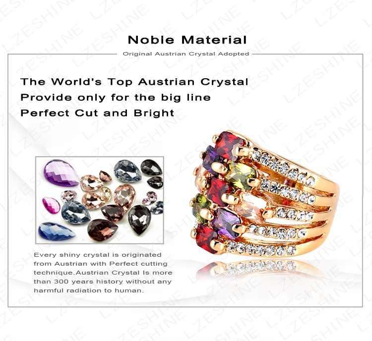 AENINE Rose Gold สี Gorgeous Multi - layer แหวนหมั้น Pave ออสเตรียคริสตัล Charm เครื่องประดับคริสต์มาสของขวัญ Ri-HQ0215
