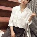 Fashion Women Casual V-neck Shirt Long Sleeve Loose Double pockets Blouse white solid cool shirts female blouses femininas Tops