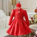 Partido al por mayor del bebé 2016 Nuevas Muchachas de La Manera Rojo Bordado Fiesta de Navidad Vestido de la muchacha del niño vestido de navidad