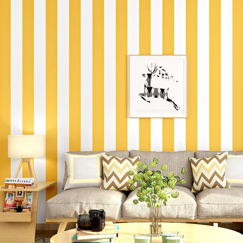 Papier peint blanc jaune chaud de Noridc de décor à la maison de papiers peints de bande verticale pour des murs de chambre papier peint de Papel papier de Contact