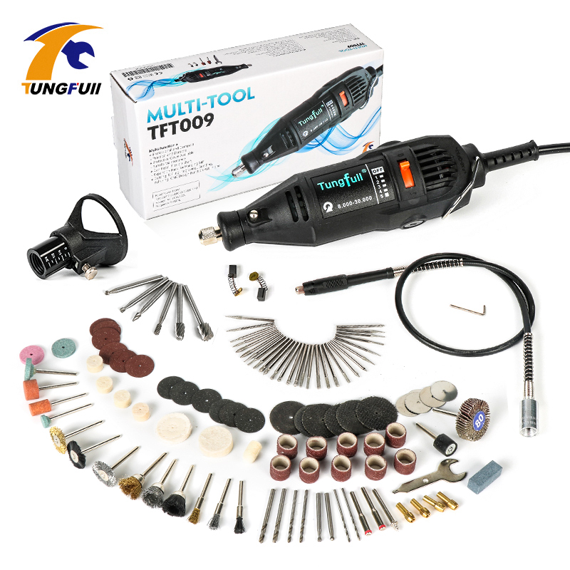 цена на Tungfull Mini Drill Dremel Style Electric Rotary Tool Engrave Grinder Variable Speed with Flexib and 112pcs Accessories DIY Kits