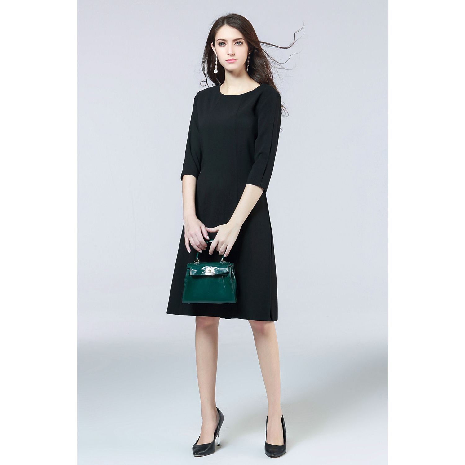 Women New Spring Autumn Half-sleeved Crew Neck European And American Dress Solid Color Temperament Dress