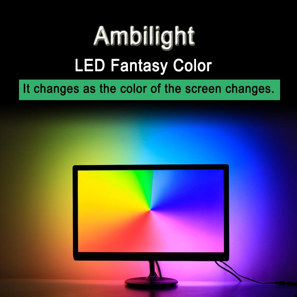 Ambilight WS2812B RGB USB LED Strip light HDTV TV Desktop PC Screen Backlight lighting ws2812 Tape Ribbon 1M 2M 3M 4M 5M laser virtual keyboard