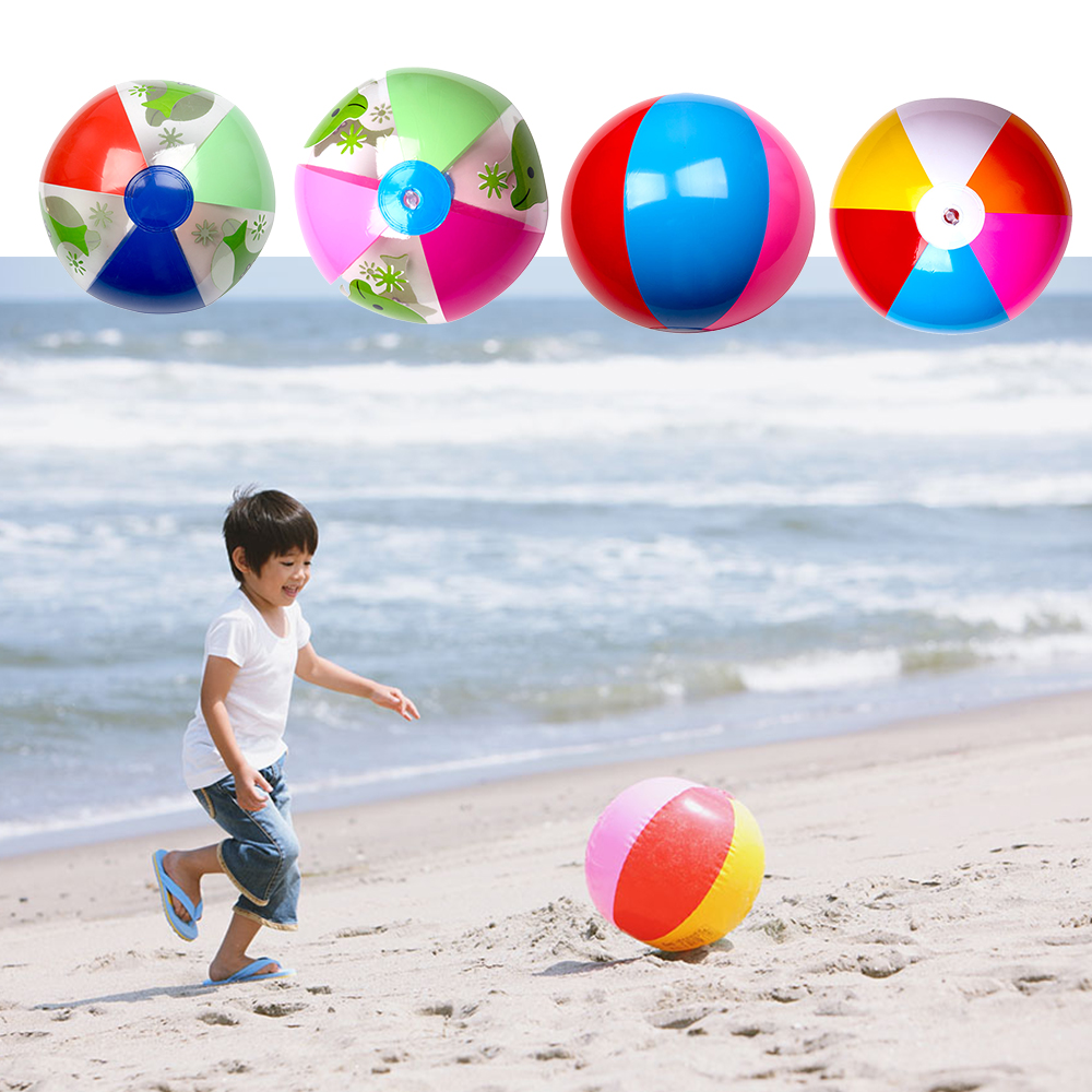 Kids 1PC 28cm Colorful Inflatable Beach Sand Ball Rainbow Swimming Pool Play Ball Party Toys For Kids Children Water Games