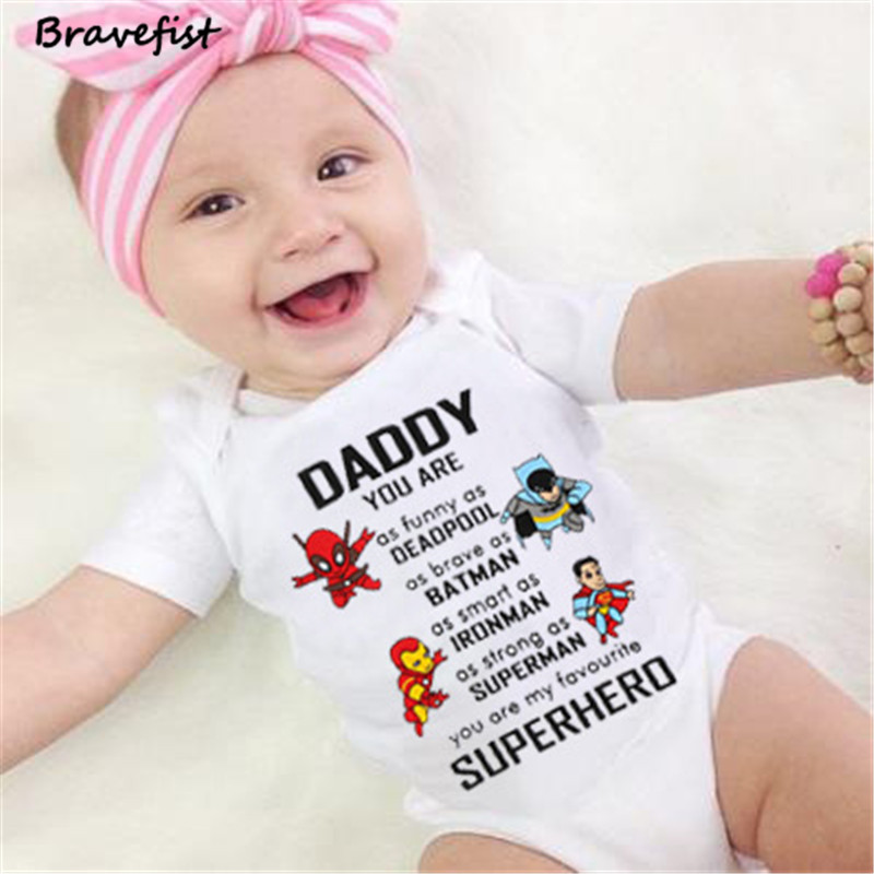 Cartoon Lovely <font><b>Newborn</b></font> <font><b>Bodysuits</b></font> <font><b>Short</b></font> <font><b>Sleeve</b></font> Infant Outfits Daddy Print Summer Children Boys Girls Clothes 0-24M Sunsuits Tees image