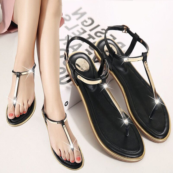 089d38057 New 2019 Women sandals sexy thin belt flat sandals for women summer gold  sandals with T Strap sandalias mujer size 34 43 m764-in Women s Sandals  from Shoes ...