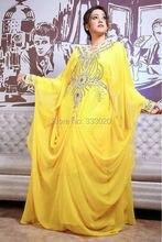 Langarm Muslimischen Abendkleid Perlen Chiffon Dubai Kaftan Yellow Arabisch Formale Kleid