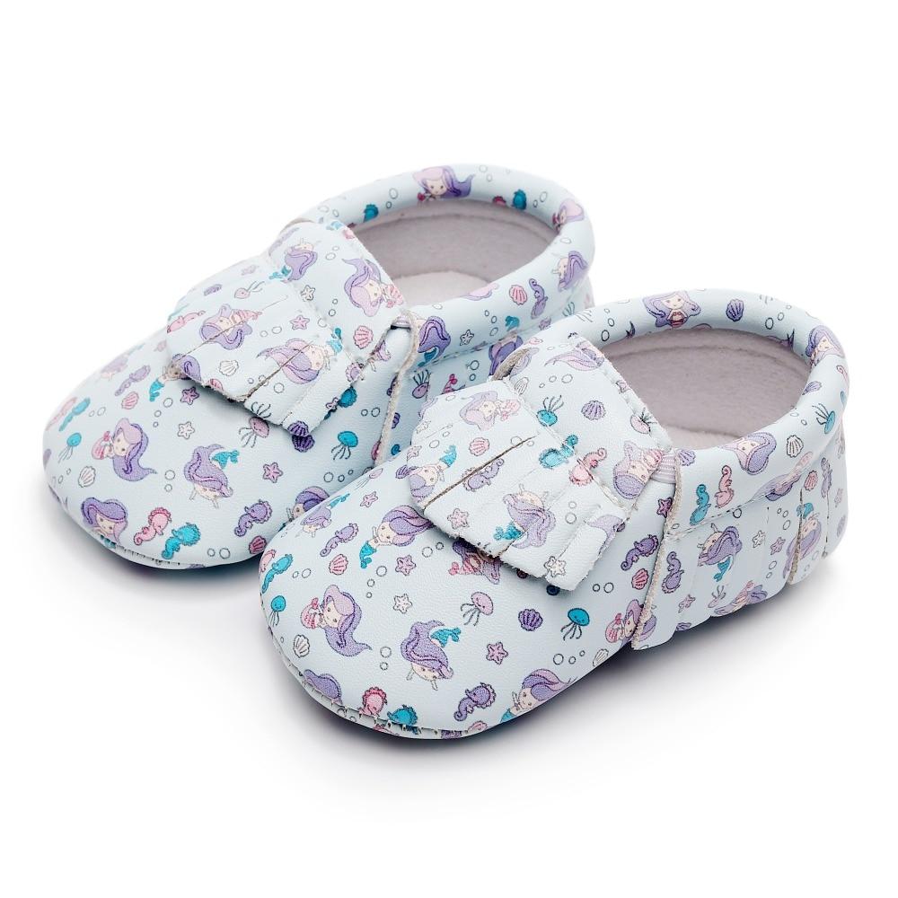 Polwer Baby Girl Crib Shoes Newborn Toddler Mary Jane Prewalker Flower Moccasins