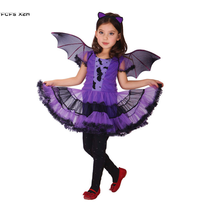 20sets DHL Free XS-XXXL Girls Bat anime Cosplays Kids Halloween Vampire Costumes for Children's day Carnival Purim masked dress