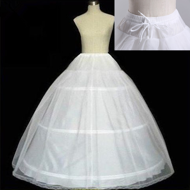 Free shipping High Quality White 3 Hoops Petticoat Crinoline Slip Underskirt For Wedding Dress Bridal Gown