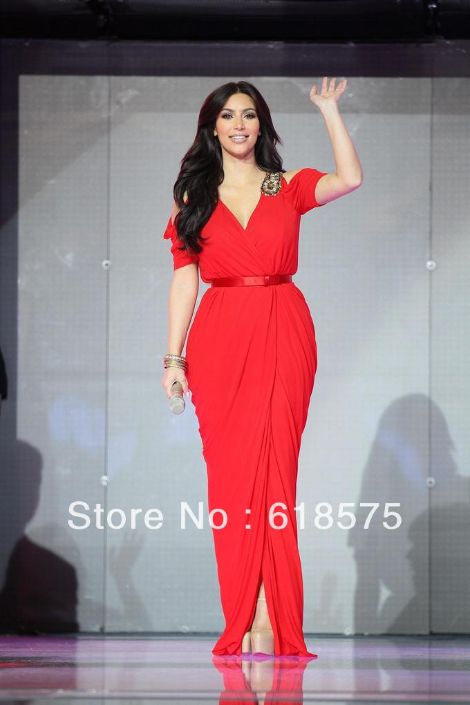 Kim Kardashian Red Dress In Dubai Celebrity Long Chiffon Prom Gown ...