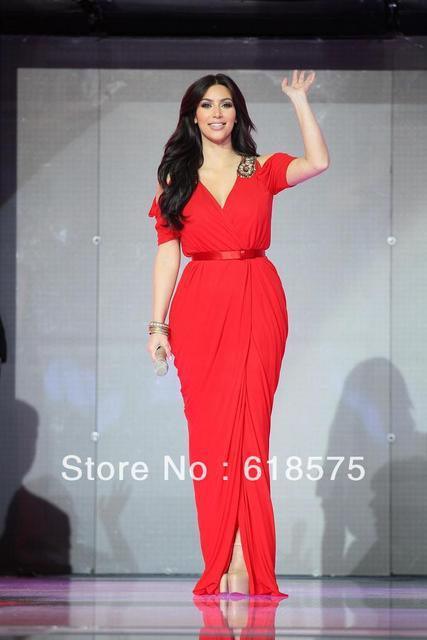 a40a3a5c095 Kim Kardashian Red Dress In Dubai Celebrity Long Chiffon Prom Gown  Celebrity Dress Formal Gowns Evening Dresses