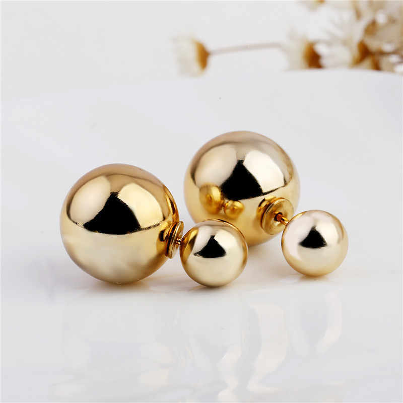 Fashion Jewelry Wholesale New Design Double side Stud Earring Cheap Gold Sliver Color Ball Stud Earrings Best Gift For Woman Hot