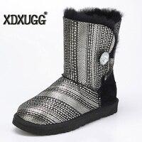 Australia Sheep Skin Wool One Snow Boots Sequins Female Calf Height Winter Flat Bottom Warm Boots