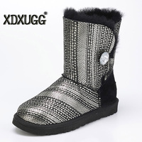 Australia Sheep Skin Wool One Snow Boots Sequins Female Calf Height Winter Flat Bottom Warm Boots