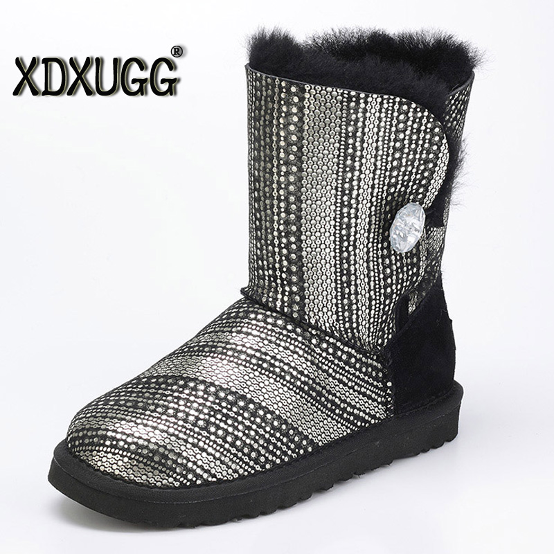 Australia sheep skin wool one snow boots Sequins female calf height winter flat bottom warm Boots, Free Delivery цены онлайн