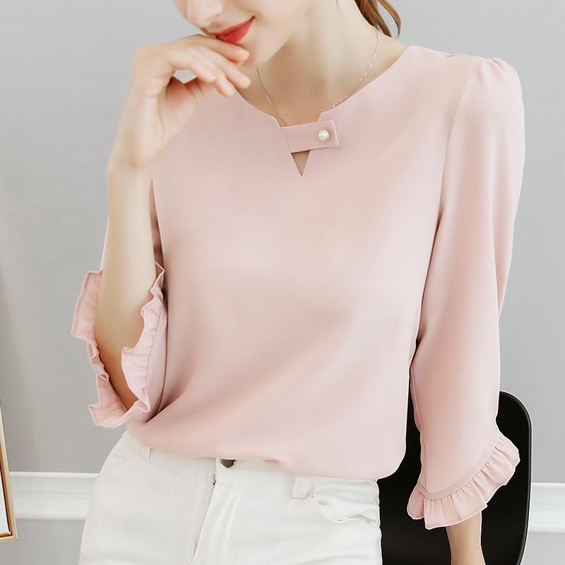 new spring and summer 2018 women ruffles sleeved chiffon blouse pearl Korean fashion solid slim female lady shirts tops 0.11 8.9