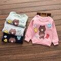 Transporte rápido de Alta Qualidade Crianças Roupas Da Moda 2016 Coreano Bonito Casual Character Algodão O-pescoço Camisola Do Bebê Roupas de Menina Outono