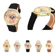 Paradise 2016 New Women Men Retro Castle Pattern PU Leather Students Watch high quality Free Shipping May19