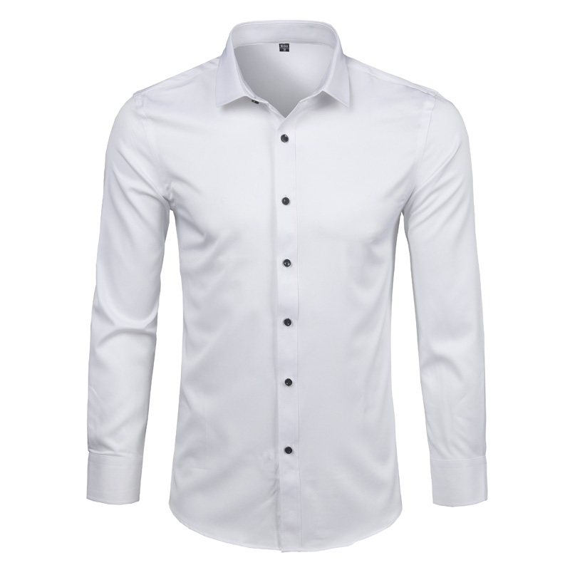 6c071199a Bamboo Fiber Mens Dress Shirt 2018 Brand New Solid Color Long Sleeve White Shirt  Men Casual