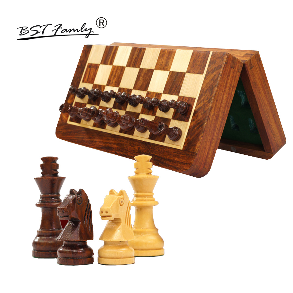 BSTFAMLY Wooden Chess Set Game Portable Game of International Magnetic Chess Folding Chessboard Wood Chess Pieces Chessman I12 цена