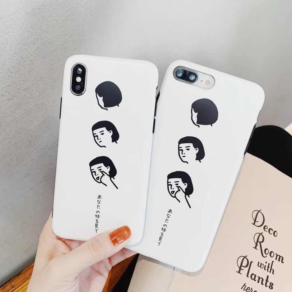 Япония Корея Мода высокого качества короткие волосы девушка матовый IMD чехол для iPhone X XS XR XSMax 6 6 Plus 7 8 8 Plus чехол coque
