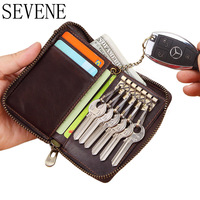 SEVENE Key Wallets Keychain Wallet Genuine Leather Men Purse Multi Functional Car Key Organizer Card Holder Zipper Car Key Case