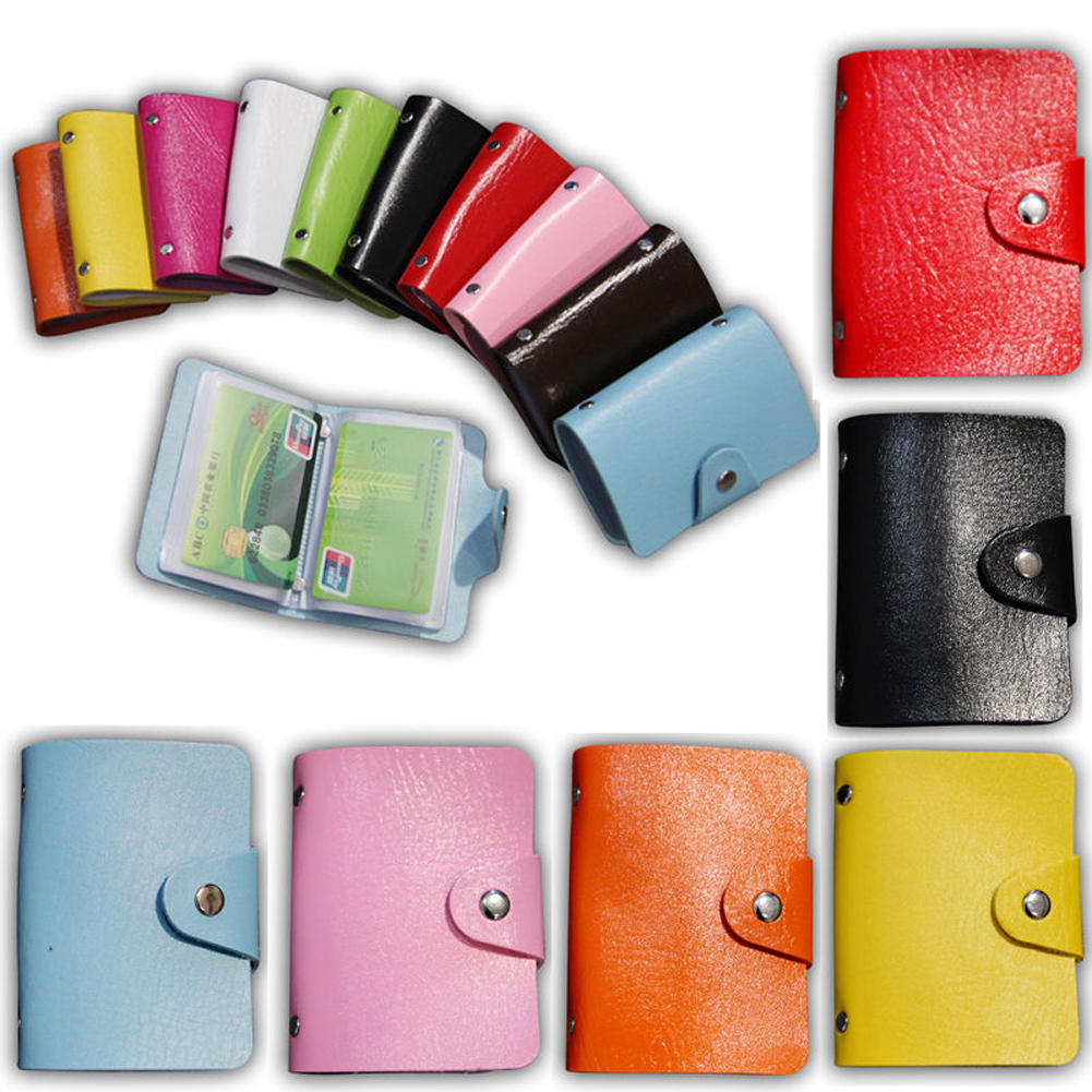 Fashion Women Men 24 Bits Credit Card Holder PU Leather Buckle Business Cards ID Card Holder Passport Card Holder Wallet Bag