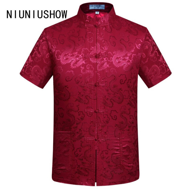 0546b3c993ae1 New Arrival Red Chinese Men s Silk Kung Fu Shirt Summer Tops Short Sleeve  Clothing Size S M L XL XXL XXXL BJ03