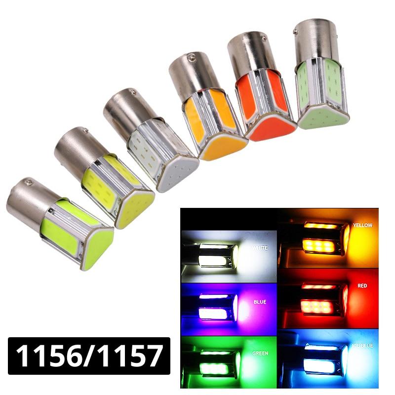 1x 1156 BA15S 1157 BAY15D COB LED Lamp 1156 1157 LED Turning Light Reverse Parking Bulb Signal Lamp Blue Green Yellow White Red