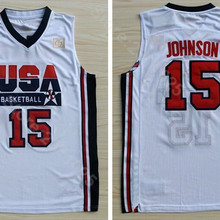 12ec13ae Ediwallen 1992 USA Dream Team One 15 Magic Johnson Jersey Men Basketball  Uniform Team Color Navy