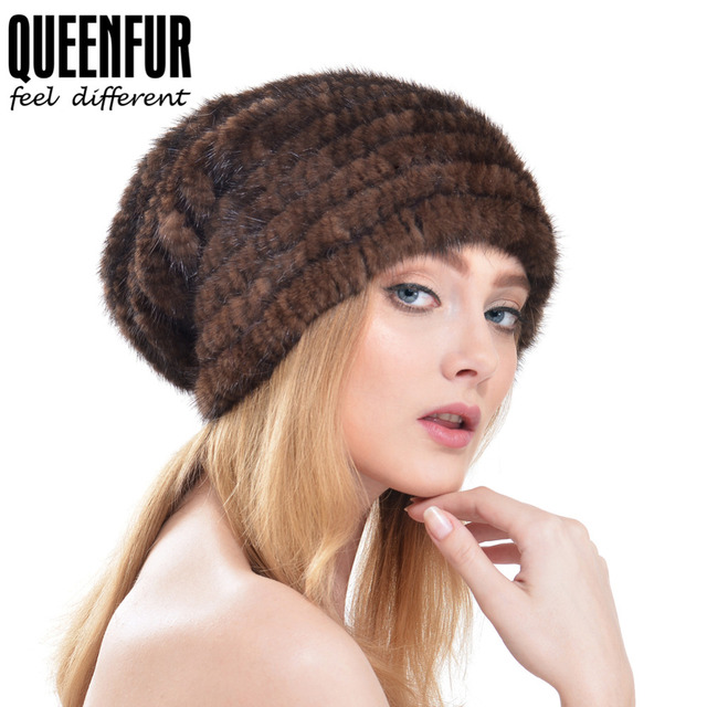 668b7718a3ae1 QUEENFUR Real fur Super Fashion Real Mink Fur Hats For Women Winter Fur Cap  2017 New Warm Knit Mink Fur Beanies Hat Russia Style