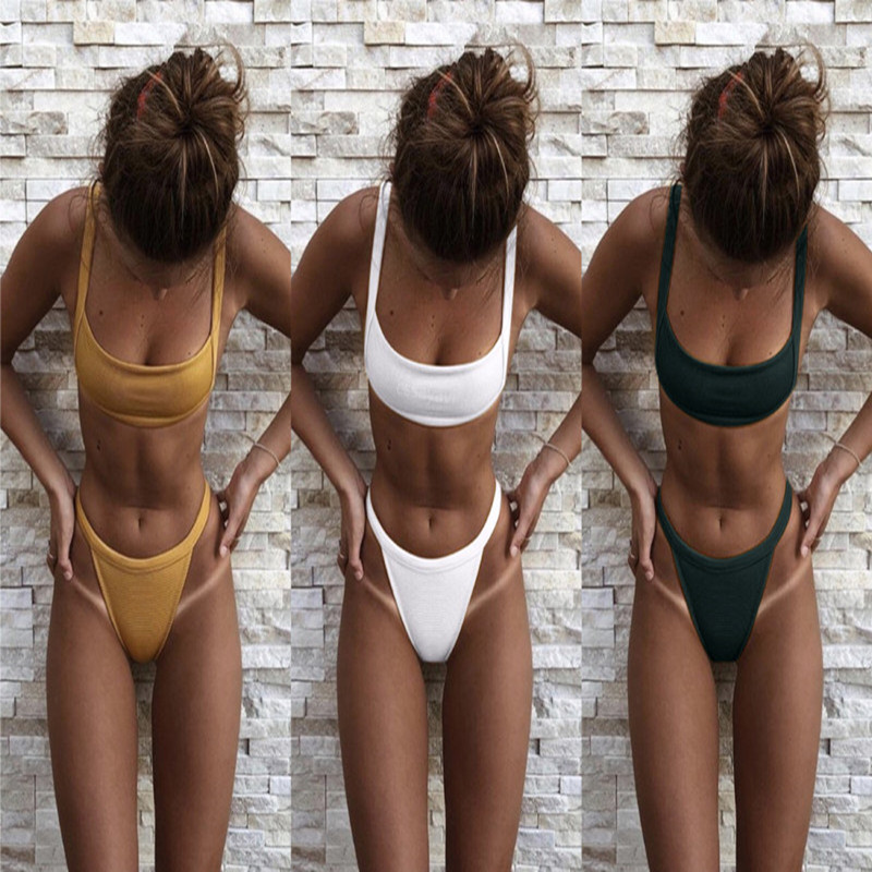 Women sexy High waist bikini 2018 Summer hot swimwear solid 3 colour swimsuit HIgh quality push up bathingsuit maillot de bain