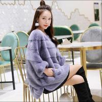 New Real Mink fur coat women Winter thick warm Natural fur outwear Genuine Leather Real fur jacket Female